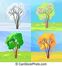 Four seasons banners. Winter, spring, summer and autumn scene in one concept. Vector