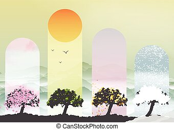 Four Seasons Banners with Abstract
