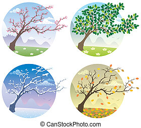 Cartoon illustration of a tree during the four seasons. No transparency used. Basic (linear) gradients.