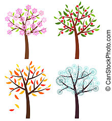 Four seasons trees: spring, summer, autumn and winter ....
