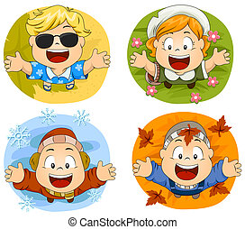 Four Seasons - Illustration of Cute Little Kids Representing...