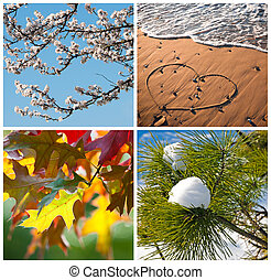 Four Seasons Collage - Four seasons concept with spring...