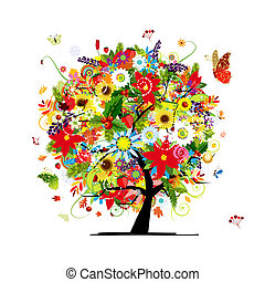 Four seasons concept. Art tree for your design