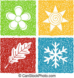 Four seasons doodle icons - Illustration of four seasons...