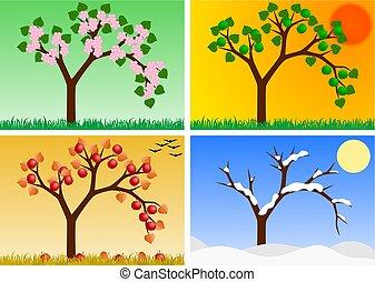 four seasons - apple tree in four seasons