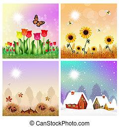 four seasons - illustration of four seasons