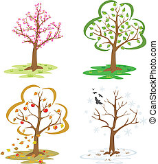 four seasons - falling leaves, winter tree, blooming...