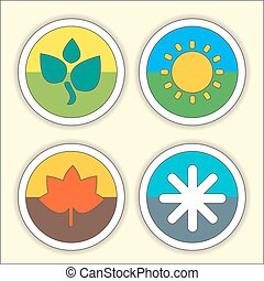 Four seasons flat thin icon set. Vector illustration of winter, Spring, Summer, Autumn symbols.