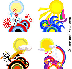 Four Seasons  - Four seasons icons on white background