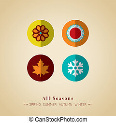 four seasons icon symbol vector illustration