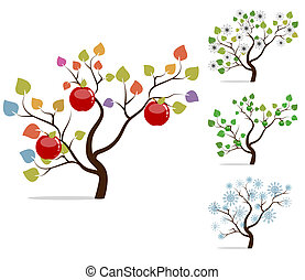 Four seasons. Colorful apple tree with delicious red apples,...