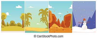 Four seasons landscape - set of flat cartoon vector illustrations.