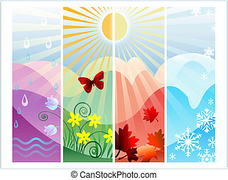 Four Seasons - Abstract illustration with four seasons of...