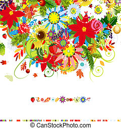 Four seasons. Postcard cover for your design