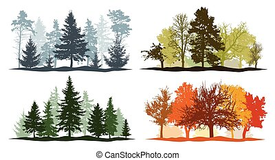 Four seasons. Set of winter, spring, summer and autumn trees silhouettes. Vector illustration.