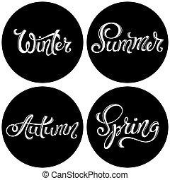 Four seasons set. Spring Summer Autumn Winter.