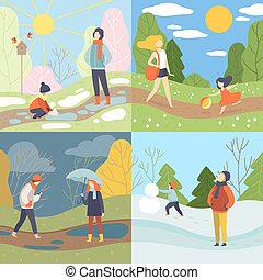 Four Seasons Set, Winter, Spring, Summer and Autumn, People Enjoying Different Weather in Nature Vector Illustration