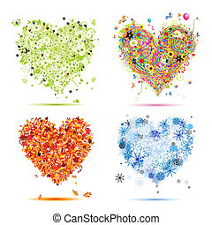 Four seasons - spring, summer, autumn, winter. Art hearts beautiful for your design