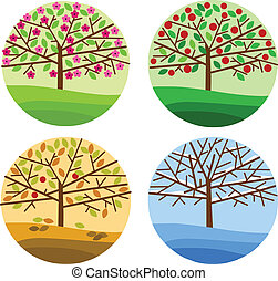 four seasons - spring, summer, autumn and winter