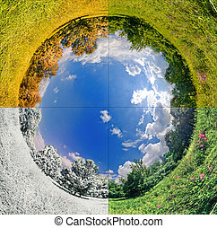 Four seasons - panoramic image looks like planet with...