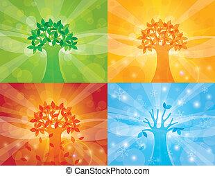 Four Seasons Tree Background Illustration