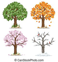 Four seasons - Tree in four seasons - spring, summer, autumn...