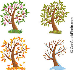 Four Seasons Tree - Spring, Summer, Autumn and Winter Tree...
