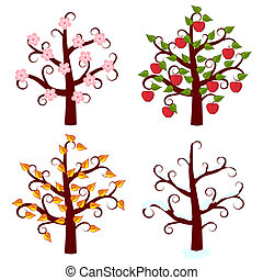 four seasons trees art