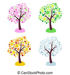 Four seasons trees stylized with circles isolated on white background