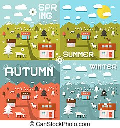 Four Seasons Vector Illustration