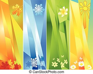 four seasons, vector illustration