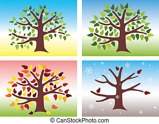 Vector illustration of a tree during the four different seasons of the year: Spring, Summer, Autumn and Winter