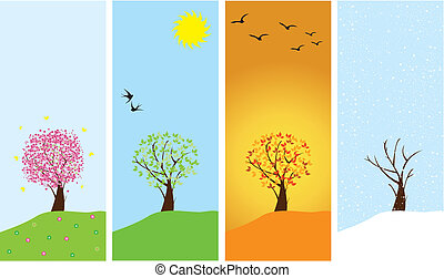 four seasons - vector season banners with season trees