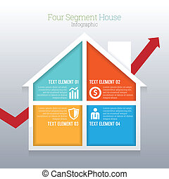 Four Segment House Infographic - Vector illustration of four...
