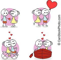 set of couple doodle