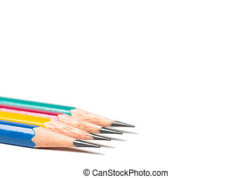 four sharpen pencils isolated on white background.