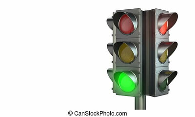 Four sided traffic light isolated on white background, with...