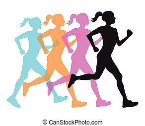 four silhouette of running women profile black, orange pink and blue overlay, fitness concept,