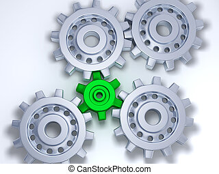 Four silver gears with one green - Four silver gears with...
