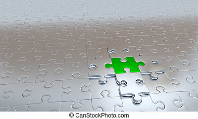 Four Silver Puzzle Pieces hold One Green Piece