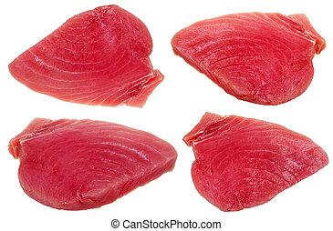 four slices of raw tuna fish meat isolated