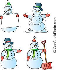 Four winter snowmen in various poses.