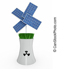 four solar panels over nuclear industry