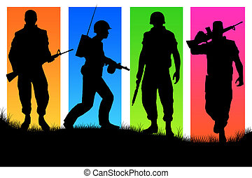 Four soldiers on varicoloured back background.
