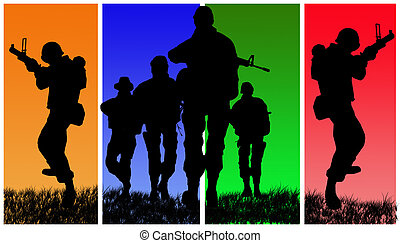 Four soldiers on colored back background.
