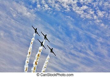 Four sparkling planes