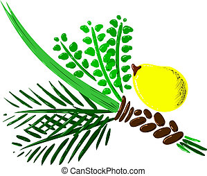 Four Species for Rosh Hashana Version 2 - Vector...
