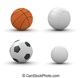 Four sport balls isolated: basketball, volleyball, football, gol