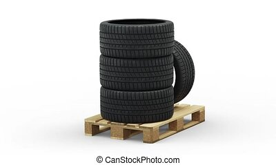 Four Sport Tire stacked on a Standard pallet in Infinite Rotation with a white background