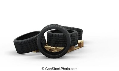 Four Sport Tires in a jumble on a Standard pallet and Floor in Infinite Rotation with a white background
